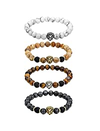 Cupimatch 4Pcs Mens Womens 8mm Imitation Turquoise / Tiger Eye /Lava Rock Stone Lion Head Charm Mala Beaded Elastic Bracelet