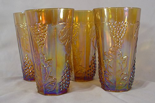 Indiana Glass Company Marigold Harvest Grape Pattern Water Glasses, set of 4