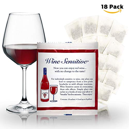NEW Organic Wine Allergy Sensitivity Prevention Wine Sulfite Remover with All Natural Ingredients Better Than Hangover Prevention Remedies & Wine Filters Stops Red Wine Headaches Nausea IBS (18 Packs) by Wine Sensitive (Image #9)
