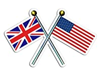 Crossed Poles with USA & Union Jack Flags Sticker (uk british britain)