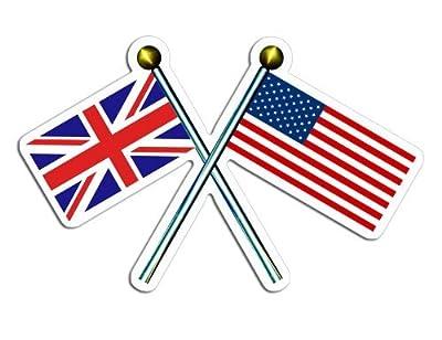 Crossed Poles with USA & Union Jack Flags Sticker (uk british britain)