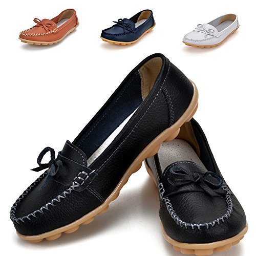 Loafers Shoes for Women Leather - 2017 New Exclusive Series Slip on Loafers Ladies Penny Black Comfort Walking Flat Loafers