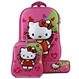 Di Grazia Cartoon Hello Kitty 3D Embossed Print 3 In 1 Hardshell Travel Trolley Suitcase Luggage Bag With Lunch Box And Pencil Box In A Set For Kids With 6 Wheels