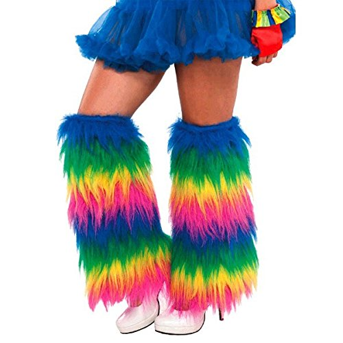 AMSCAN Rainbow Furry Leg Warmers Halloween Costume Accessories, One Size -