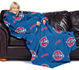 The Northwest Company Officially Licensed NBA Detroit Pistons Comfy Throw Blanket with Sleeves, Repeat Design