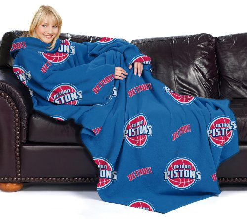 The Northwest Company Officially Licensed NBA Detroit Pistons Comfy Throw Blanket with Sleeves, Repeat Design by The Northwest Company