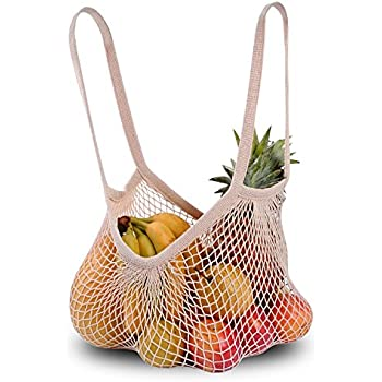 DimiDay Cotton Net Shopping Tote Ecology Market String Bag Organizer-for Grocery Shopping & Beach, Storage, Fruit, Vegetable (Middle-Size(Long Handle), Natural)