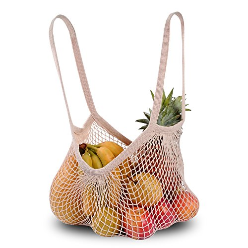 DimiDay Cotton Net Shopping Tote Ecology Market String Bag Organizer-for Grocery Shopping & Beach, Storage, Fruit, Vegetable and Tosys (Large-Size Long Handle)