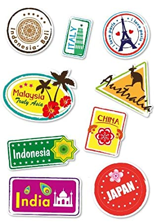 amazon com 8 locations travel suitcase stickers