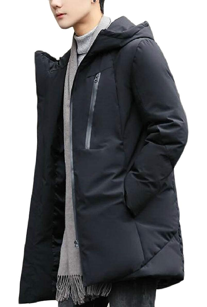 FLCH+YIGE Mens Zip Hooded Padded Puffer Pocket Mid-Long Quilted Coats Jackets