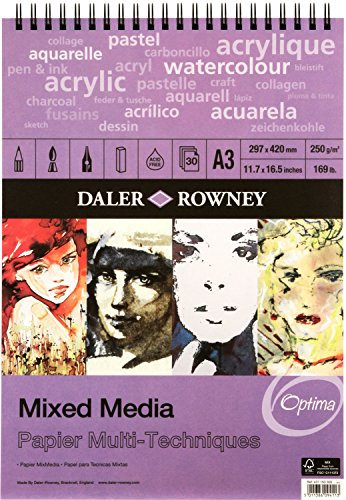 Daler Rowney - Mixed Media Spiral Sketchpad - 250gsm - 30 Pages - A3 Portrait - Made in England