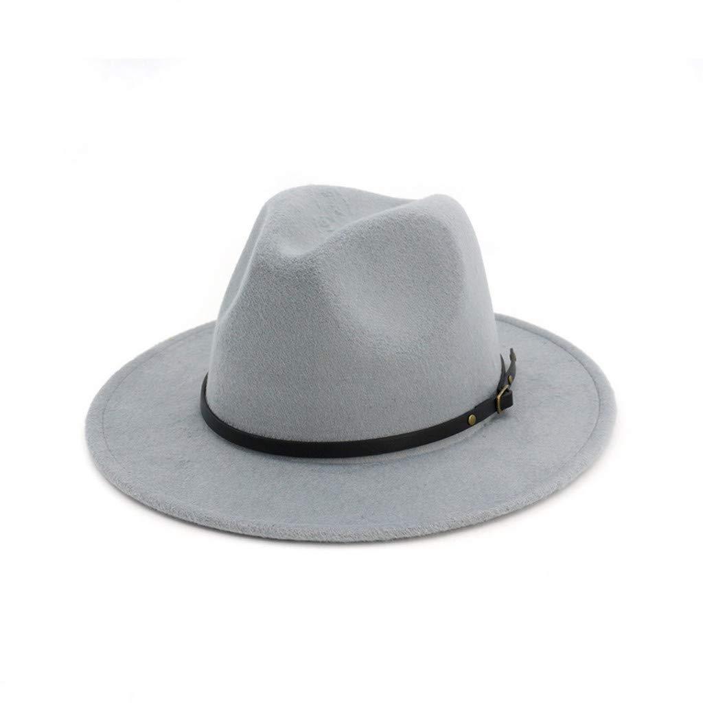Kinglly Womens Buckle Fedora Hat Wool Felt Outback Hat Panama Hat Wide Brim Women Belt Buckle Fedora Hat