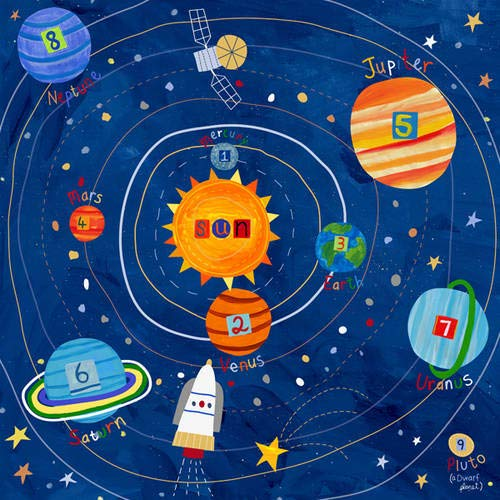 Oopsy Daisy Too's Blast Off! - Solar System Canvas Wall Art Size 21x21 by Oopsy Daisy