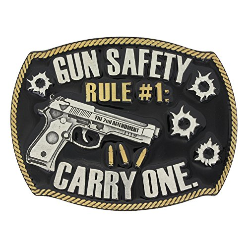 Montana Silversmiths Men's Silver Gun Safety Belt Buckle Silver One Size (Buckle Gun Belt)