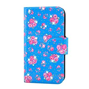 Generic Rhinestone Hot Pink Flower Peony Design Card Slot Magnetic PU Leather Flip Case Cover Compatible For ZTE U880S