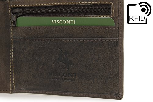 Leather Visconti Hunter Brown Visconti Shield Wallet Oil Rfid Wallet 707 qwY45