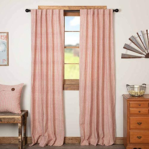 Homespun Red Ticking Panel Curtains, Set of 2, 84 Long, Primitive, Country, Farmhouse Style Window Drapes