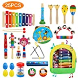 NEWSTYLE Toddler Musical Instruments, 25Pcs 15Types Wooden Percussion Instruments Toys Set with Tambourine Xylophone Maracas Preschool Education Musical Toys for Kids Boys Girls with Storage Backpack