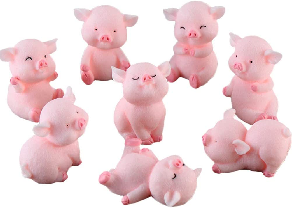 Miniature Pig Figurines 8 Pcs, Cute Pink Piggy Toy Figures Cake Toppers for Fairy Garden Decor Christmas Desk Decoration