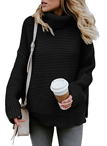 Asvivid Womens High Neck Long Sleeve Slim Fit Chunky Fall Pullover Sweaters Knitwear L (Black Turtleneck Sweater)