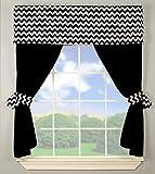 Baby Doll Bedding  Chevron Window Valance and Curtain Set, Black