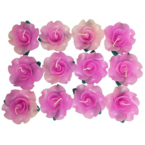 - Wedding&spa Scented Rose-shaped Floating Candles(pack of 12),pink
