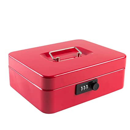 a35fb1a9633d Cash Box with Combination Lock Safe Metal Money Box with Money Tray for  Security Lock Box 9.84
