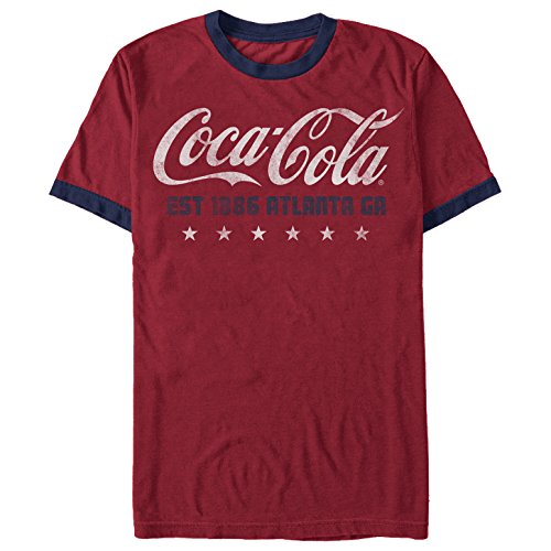 (Coca Cola Men's Retro USA Red/Navy Blue Ringer T-Shirt)