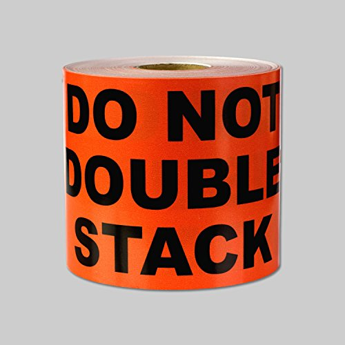 "DO NOT DOUBLE STACK Warning Labels Self Adhesive Stickers (Orange Black / 5"" x 3"") - 300 labels per package"