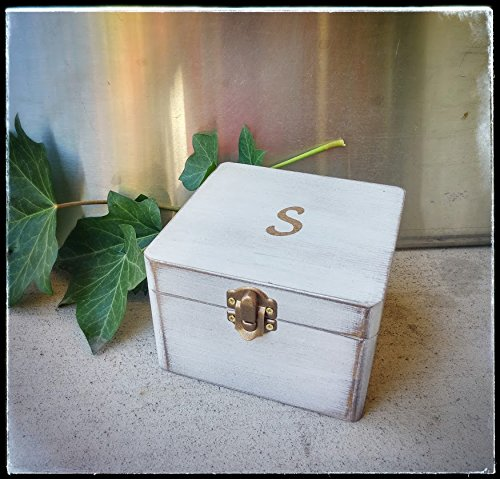 Amazoncom Personalized Initial Box White over bronze wood box