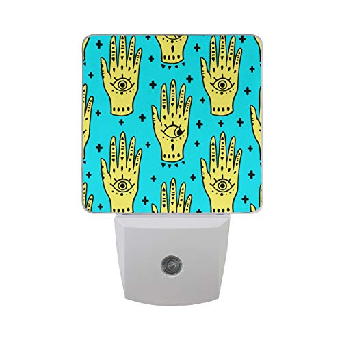 Gaz X Hamsa Fatima Amulet Symbol of Protection LED Night Light Dusk to Dawn Sensor Plug in Night Home Decor Desk Lamp for Adult