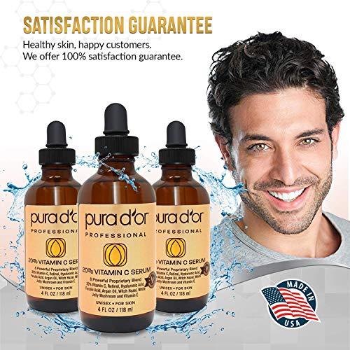PURA D'OR 20% Vitamin C Serum Premium Professional Grade (4oz / 118mL) for Face & Eyes Most Complete Formula Hyaluronic Acid, Vitamin E & Argan Oil, Treatment for Dark Spots, Acne, Wrinkles, Men-Women