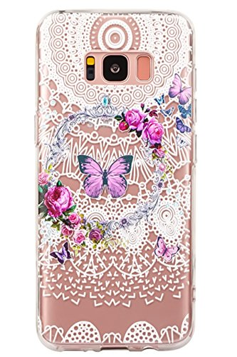 Galaxy S8 Case,3Cworld Ultra Thin Clear Art Pattern Crystal Gel TPU Rubber Flexible Slim Skin Soft Case for Samsung Galaxy S8 (Flower Butterfly - White)