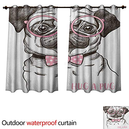 WilliamsDecor Pug Outdoor Ultraviolet Protective Curtains Cute Pet Dog with Pink Bow Tie Oversized Glasses Hand Drawn Domesticated W84 x L72(214cm x 183cm)