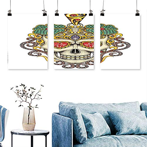 - SCOCICI1588 3pcs Triptych The Dead Sugar Skull with Heart Pendants and Floral Jewelry Print White Art Home Decor No Frame 24 INCH X 35 INCH X 3PCS