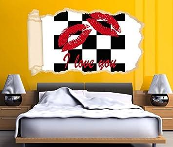 3D Wandtattoo Tapete I love you Text Kuss Lippen Mund rot Schach ...