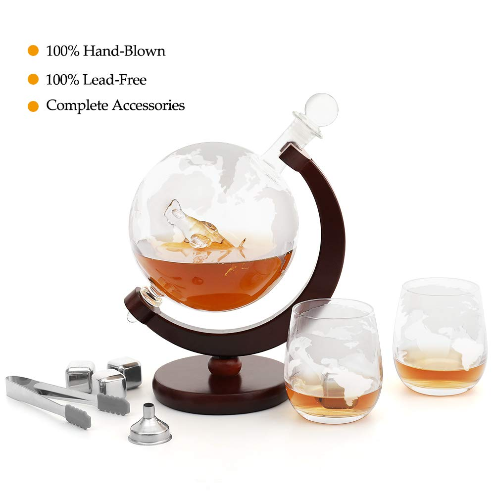 Whiskey Decanter Set 1500ml Etched Globe Decanters for Alcohol Liquor with Airplane, 2 Whisky Glasses, 4 Whiskey Stones, Ice Tongs, Metal Funnel - for Scotch, Bourbon, Vodka - Gifts for Men