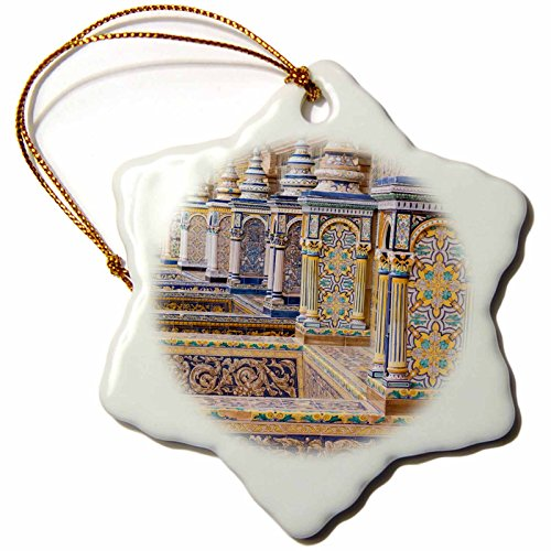 3dRose Danita Delimont - Spain - Spain, Andalusia, Seville. Plaza de Espana ornately decorated. - 3 inch Snowflake Porcelain Ornament (orn_277899_1) by 3dRose