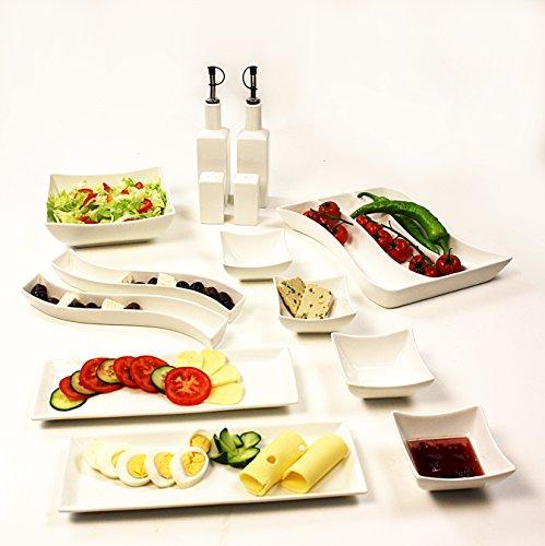 14 Teilig Porzellan Frühstücksset Servier-Set in Weiß