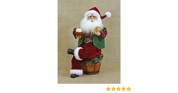 Amazon.com: crakewood beer barrel santa claus figurine: home & kitchen