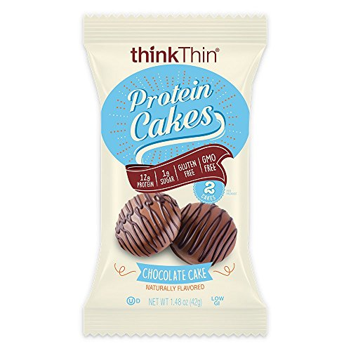 Protein Cakes by thinkThin  On The Go Snacks  12g Protein Low Sugar Gluten Free NonGMO Chocolate Cake 2 Cakes per Package 9 Packages