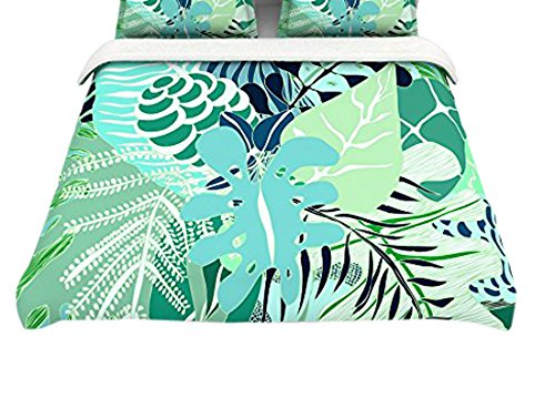 104 x 88 Kess InHouse Anchobee Giungla Green Floral Cotton King Duvet Cover