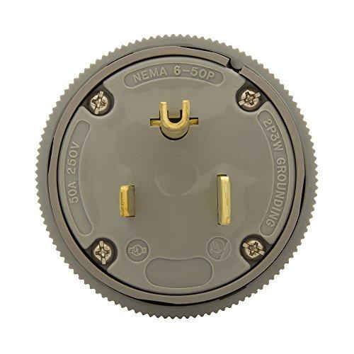 Eaton 5710N 50 Amp 250V 6-50 Industrial Power Plug & Connector, Gray