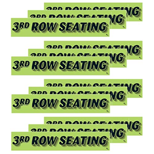VERSA-TAGS 14.5 Inch Black & Chartreuse Green Adhesive Windshield Slogan Car Dealer Sticker - 3rd Row Seating