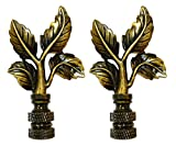 Royal Designs Elegant Leaves Lamp Finial for Lamp Shade- Antique Brass Set of 2