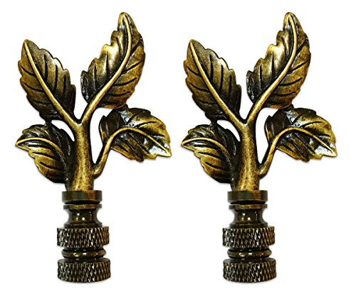 Royal Designs Antique Brass Finial for Lamp Shade Set of 2