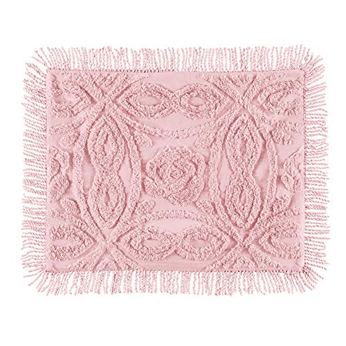 - Collections Etc Blush Wedding Ring Chenille Pillow Sham with Fringe Border - Year-Round Décor for Bedroom, Blush, Sham