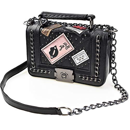 (Cross Body Fashion Rivet Chain Bag Single Shoulder PU Leather Side Purse Messenger Bag Hand bag for Women and Girls (Black) )