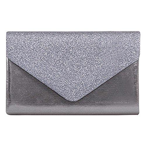 Wocharm Wedding Bag Bag Hand Clutch Stylish Girly Glitter Women Sparkle Evening Grey Party Handbags rvtvqFn