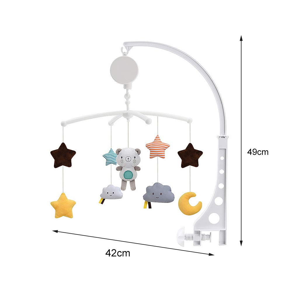 Infant Mobile Bed Ring with Bear Star Newborn Best Gifts Moon Ewer Baby Musical Crib Mobile Plush Bed Bell with Arm Interactive Nursery Toys for Boy or Girl Babies Bed Room